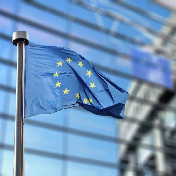 Europa Fahne mit verschwommenen Parlamentsgebäude im Hintergrund